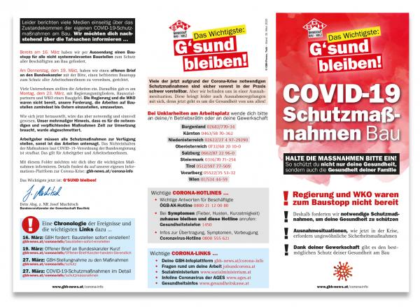 Wir informieren: Folder plus Plakat zu den COVID-19-Maßnahmen am Bau